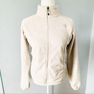 North Face Light Gray Textured Fleece Jacket Sz Sm